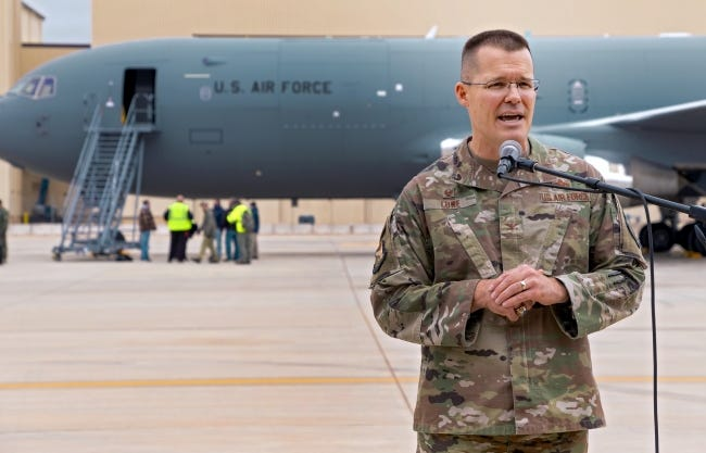 Col. Greg Lowe speaks to the media in September after the KC-46 Pegasus arrived for first maintenance check at Tinker Air Force Base in Midwest City. [Chris Landsberger/The Oklahoman]