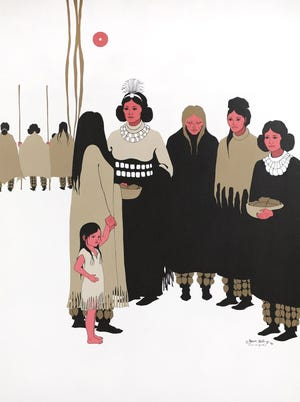 """""""Women's Voices at the Council,"""" a painting by Joan Hill (Muscogee Creek/Cherokee, 1930-2020) that is part of the Oklahoma State Art Collection, is featured in the landmark traveling exhibition """"Hearts of Our People: Native Women Artists."""" The landmark exhibit is on view through Jan. 3 at the Philbrook Museum of Art in Tulsa. [Image provided]"""