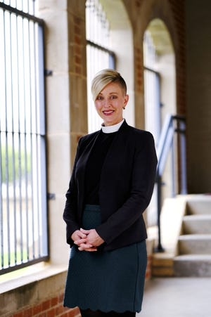 The Rev. Katie Churchwell, dean of St. Paul's Episcopal Cathedral, stands outside the downtown church's sanctuary. [Doug Hoke/The Oklahoman Archives]