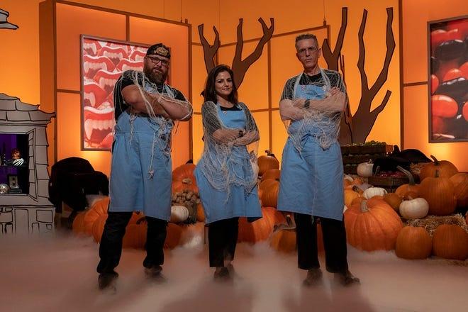 "Team Mummies Rejects - from left, Oklahoman Daniel Miller, Hemu Basu and Steve Weiss - won ""Halloween Wars"" Season 10. [Food Network photo]"