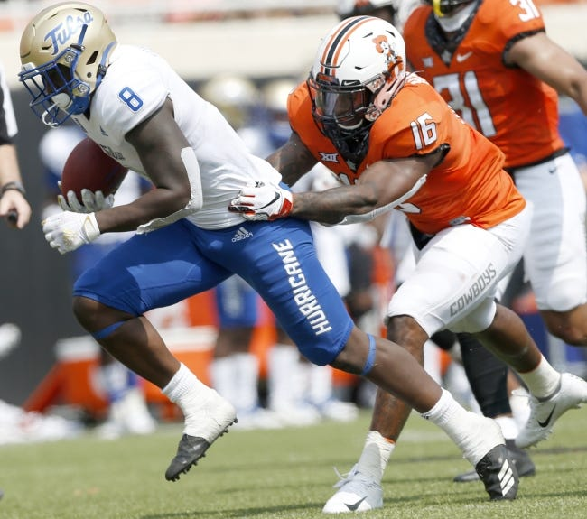 Oklahoma State's Devin Harper (16) will be a primary fixture at linebacker for the Cowboys in 2021. [JOHN CLANTON/TULSA WORLD]
