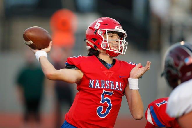 John Marshall's Kane Donovan throws a pass during a high school football game between John Marshall and Blanchard at Taft Stadium in Oklahoma City, Thursday, Sept. 24, 2020. [Bryan Terry/The Oklahoman]
