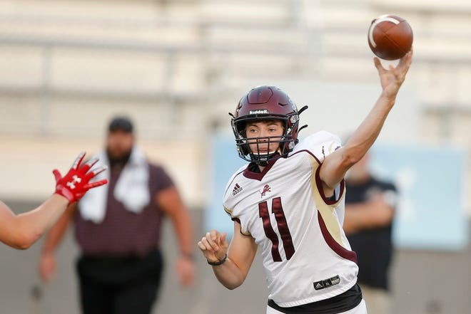 Blanchard's Colby Langford throws a pass during a high school football game between John Marshall and Blanchard at Taft Stadium in Oklahoma City, Thursday, Sept. 24, 2020. [Bryan Terry/The Oklahoman]