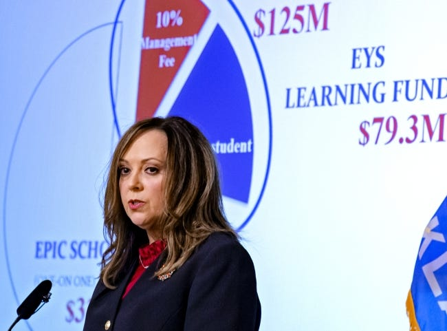 State Auditor and Inspector Cindy Byrd speaks during a press conference for the release of an investigative audit of Epic Charter Schools at the Oklahoma History Center in Oklahoma City, Okla. on Oct. 1. [Chris Landsberger/The Oklahoman]
