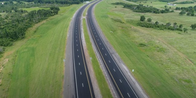 An 11-mile section of eastern Oklahoma County's new Kickapoo Turnpike that stretches from the Turner Turnpike to NE 23 Street is expected to open to traffic on Oct. 13. [provided]