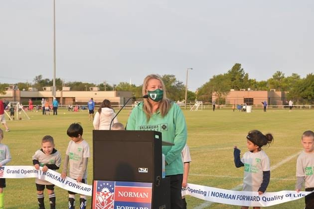 Christy Fuentes, Norman Youth Soccer Association Board president, comments about the benefit of the Griffin Park Phase III project on youth soccer in Norman. [PHOTO PROVIDED]