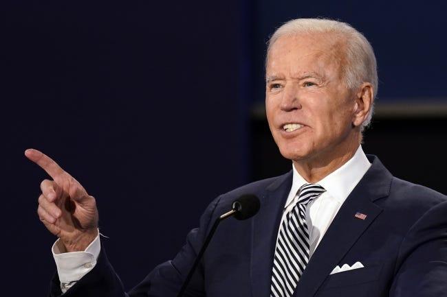 Former Vice President Joe Biden speaks during the first presidential debate with President Donald Trump on Sept. 29. [AP Photo/Patrick Semansky]