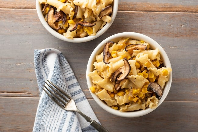 This Sweet Corn and Mushroom Pasta Bowl is an easy and delicious recipe from the Made in Oklahoma Coalition. [Photo provided]