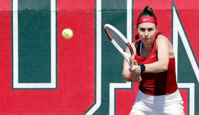 OU tennis player Sasha Korashvili, seen here in 2019, was the Big 12's newcomer of the year then. Now, she is waging a different battle and is in need of a bone marrow transplant. [TY RUSSELL/OU ATHLETICS]