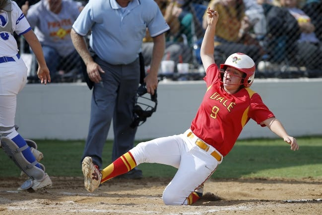 Dale's Makenzy Herman scores a run against Stroud in a state tournament game last season. [Bryan Terry/The Oklahoman]