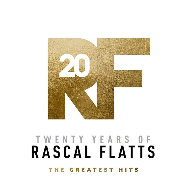 """Superstar country vocal group Rascal Flatts - lead singer Gary LeVox, bassist Jay DeMarcus and guitarist Joe Don Rooney, who hails from Picher - is celebrating their milestone 20th year with their fans with the new compilation """"Twenty Years of Rascal Flatts: The Greatest Hits,"""" from Big Machine Records and Disney Music Group/Lyric Street. [Cover art provided]"""