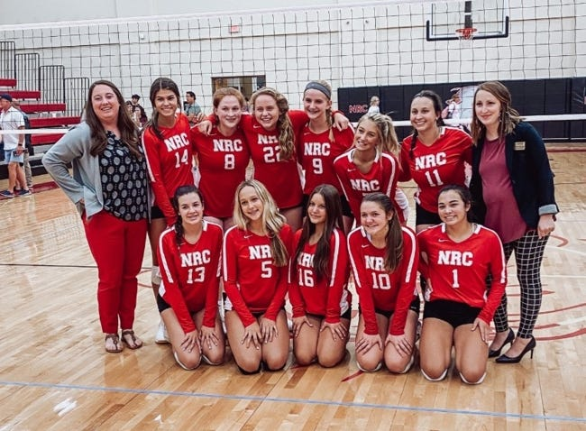 North Rock Creek's volleyball team qualified for the state tournament in its first year of varsity competition. The Cougars play Oklahoma Christian School at 10 a.m. Friday at Blanchard High School. [PHOTO PROVIDED]