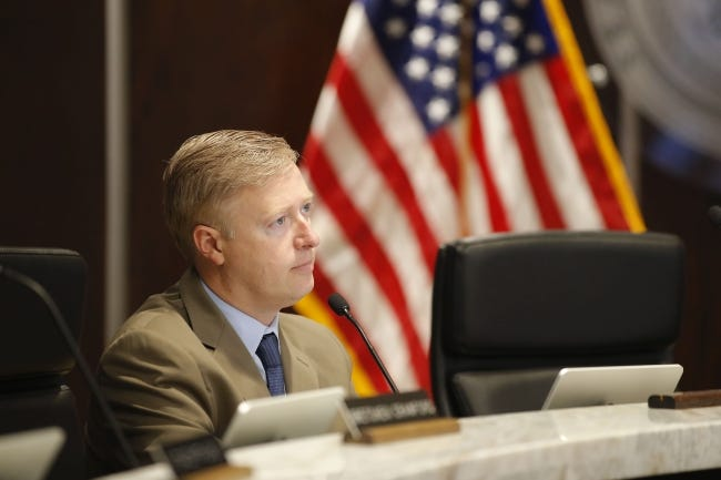 Commissioner Brian Maughan listens during an Oklahoma County commissioners meeting in Oklahoma City, Friday, Aug. 14, 2020. [Bryan Terry/The Oklahoman]
