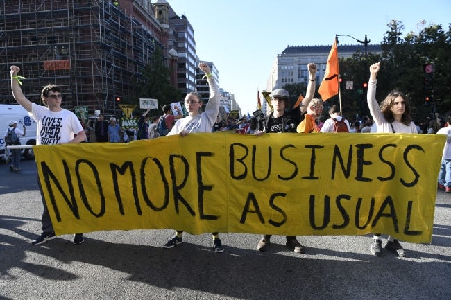 Nationally, protests calling attention to climate change have occurred for years, including this protest in Washington in 2019. In Oklahoma, some energy businesses have taken recent steps to reduce their environmental impact. (AP Photo/Susan Walsh)
