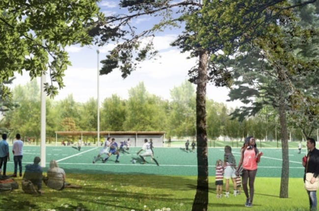 The lower park will have a soccer field. Construction is expected to last throughout 2021 and be complete in 2022. {Hargreaves Jones/City of Oklahoma City]