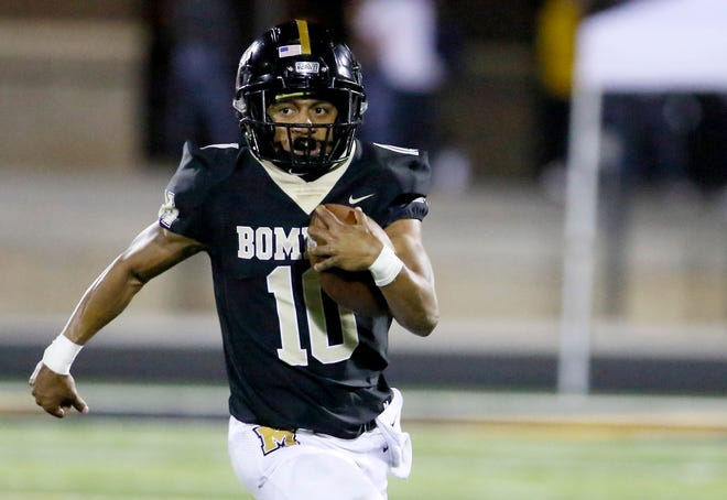 Midwest City's Deangelo Irvin, Jr. rushes during the high school football game between Midwest City and Del City at Del City High School in Midwest City, Okla., Friday, Oct. 9, 2020. Photo by Sarah Phipps, The Oklahoman