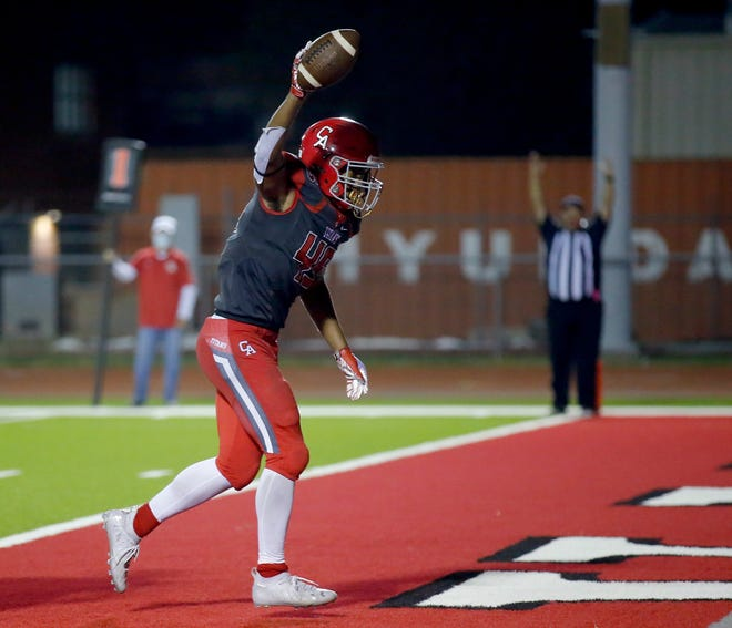 Carl Albert's Kentrell Bizzell had three touchdowns, a blocked punt and fumble recovery against Tulsa Kelley in the Class 5A quarterfinals. . Photo by Sarah Phipps, The Oklahoman