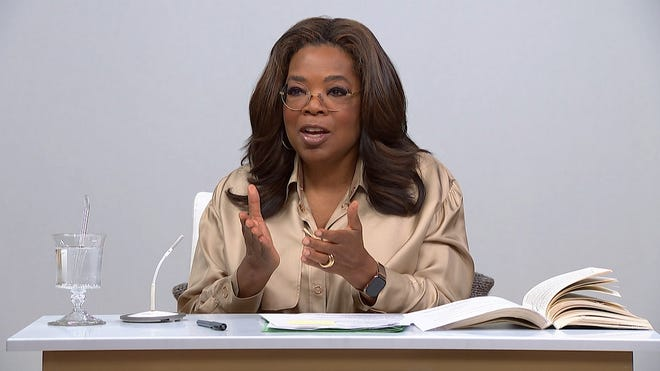 """Oprah Winfrey talks about the book """"Caste: The Origins of Our Discontents"""" on a new two-part episode of """"The Oprah Conversation."""" [Apple TV+ photo]"""