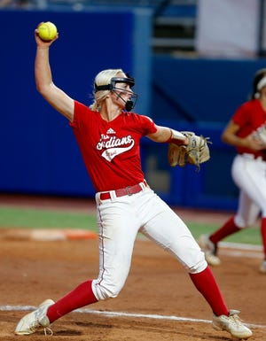 Tishomingo's Grace Anderson throws a pitch during the Class 3A fast-pitch state softball championship game between Washington and Tishomingo at the USA Hall Fame Stadium in Oklahoma City, Saturday, Oct. 10, 2020. Photo by Sarah Phipps, The Oklahoman