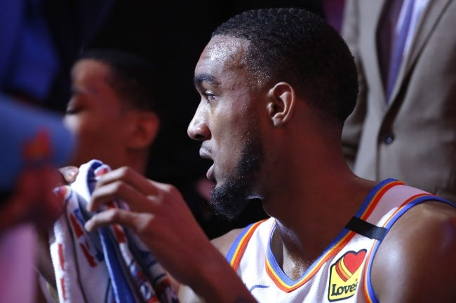 Thunder guard Terrance Ferguson sits on the bench during a timeout in a Feb. 5 game against the Cavaliers at Chesapeake Energy Arena. [Bryan Terry/The Oklahoman]