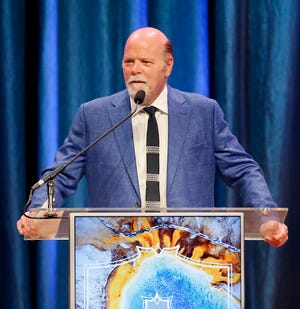 Emcee Rex Linn speaks during the National Cowboy & Western Heritage Museum's 2019 Western Heritage Awards in Oklahoma City, Saturday, April 13, 2019. [Bryan Terry/The Oklahoman Archives]