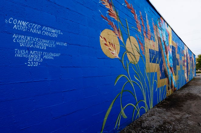 """""""Connected Pathways"""" by visiting artist Nani Chacon is part of the Indigenous Mural Series, an Arts Integration Award project led by Yatika Starr Fields. [Photo by Melissa Lukenbaugh]"""