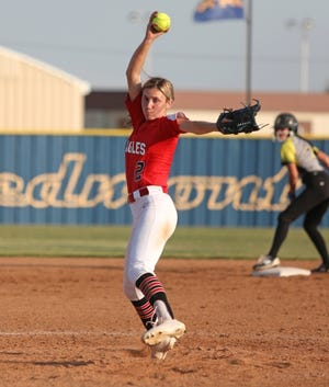 """Lauren Bratcher pitched Del City to its first state tournament in 18 years. """"She makes us a better team,"""" coach Gerre Griffin says. [Midwest City Beacon photo]"""