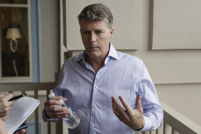 Hal Steinbrenner, principal owner of the New York Yankees, apologized to fans after the team failed to do better during the playoffs. The Yanks were eliminated in the ALDS by Tampa Bay. [AP Photo/John Raoux, File]