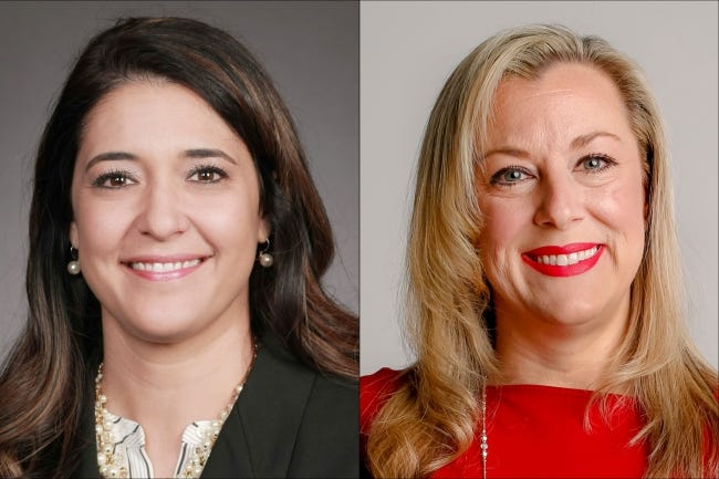 State Sen. Stephanie Bice, left, and U.S. Rep. Kendra Horn