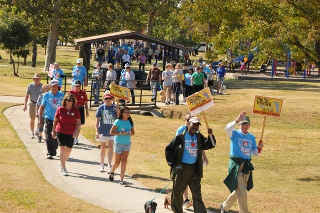Walkers of all ages participate in the Cleveland County CROP Walk to Stop Hunger, which supports Food & Shelter Inc. and the hunger-fighting and development programs of Church World Service. The CROP Walk is set for 1:30 to 4 p.m. Sunday, with virtual and in-person options. [Provided]