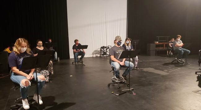 """Cast members of SWOSU's production of """"Rick Lowell, Private Eye-The Stuff That Dreams are Made Of"""" are, from left, Payton Phillips, of Shallowater, Texas; Hannah Detweiler, of Weatherford; Rodney Pryor, of Elk City; Micah Baker, of Snyder; Dillon Propst, of Stillwater; Abby Darragh, of Okarche; Brenden Weaver, of Mustang; and Emily Gill, of Lawton. [Photo provided]"""