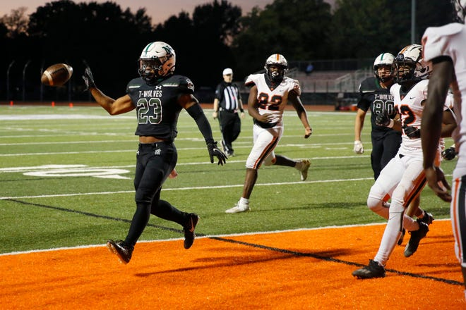 Norman North's Gabe Trevillison scores a touchdown during a high school football game between Norman North and Putnam City in Norman, Okla., Friday, Oct. 16, 2020. [Bryan Terry/The Oklahoman]