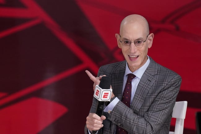 NBA commissioner Adam Silver does an interview before Game 3 of the NBA Finals on Oct. 4 in Lake Buena Vista, Fla. [AP Photo/Mark J. Terrill]