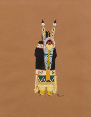 """Stephen Mopope's (Qued Koi) (U.S., Kiowa, 1898-1974) """"Mother and Child"""" is included in the new exhibition """"Kiowa Agency: Stories of the Six,"""" on view at the Fred Jones Jr. Museum of Art at the University of Oklahoma. [Image provided]"""