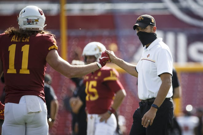 Iowa State head coach Matt Campbell greets tight end Chase Allen (11) during warmups before the Cyclones' win over Texas Tech on Oct. 10. [Brian Powers/USA TODAY Sports]