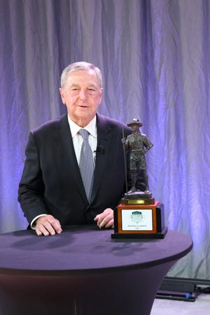 Ed Martin is pictured with the 2020 E.C. Joullian Distinguished Citizen Award. [PHOTO PROVIDED]