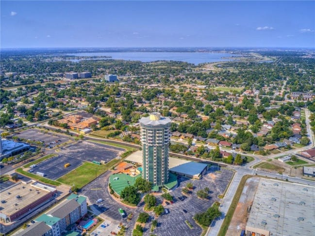 Aerial view of The 360 at Founders Plaza, 5900 Mosteller Drive, with Lake Hefner in the distance. No. 92 is the Listing of the Week. [PHOTO PROVIDED]