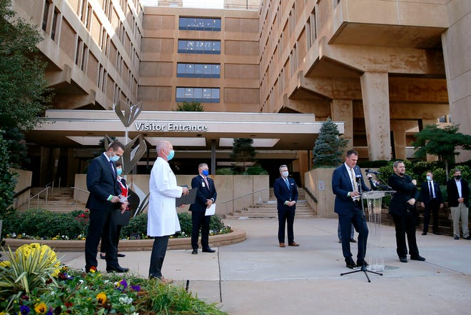 Gov. Kevin Stitt talks about the revised hospital surge plan during a press conference outside Mercy Hospital in Oklahoma City, Tuesday, Oct. 20, 2020. [Bryan Terry/The Oklahoman]