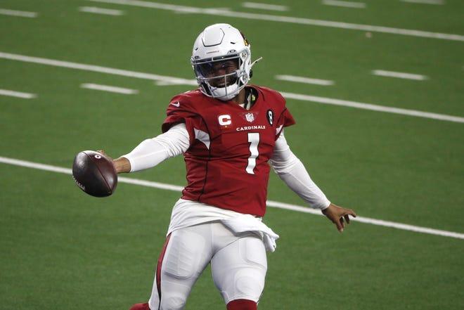 Arizona Cardinals quarterback Kyler Murray celebrates his second-half touchdown run in a 38-10 win against the Dallas Cowboys on Monday in Arlington, Texas. [AP Photo/Michael Ainsworth]