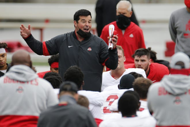 Ohio State head coach Ryan Day talks to his team during practice on Oct. 3 in Columbus, Ohio. [AP Photo/Jay LaPrete]