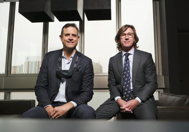 Renzi Stone, left, and Tim Berney are joining forces, with Saxum and VI Marketing and Branding merging companies. [DOUG HOKE/THE OKLAHOMAN]