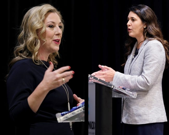 U.S. Rep. Kendra Horn, left, and state Sen. Stephanie Bice speak at a 5th Congressional District Forum on Wednesday hosted by the Edmond Chamber of Commerce. [Doug Hoke/The Oklahoman]