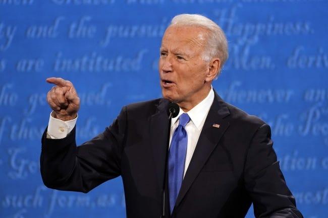 Former Vice President Joe Biden speaks during the presidential debate Thursday in Nashville. [AP Photo/Julio Cortez]