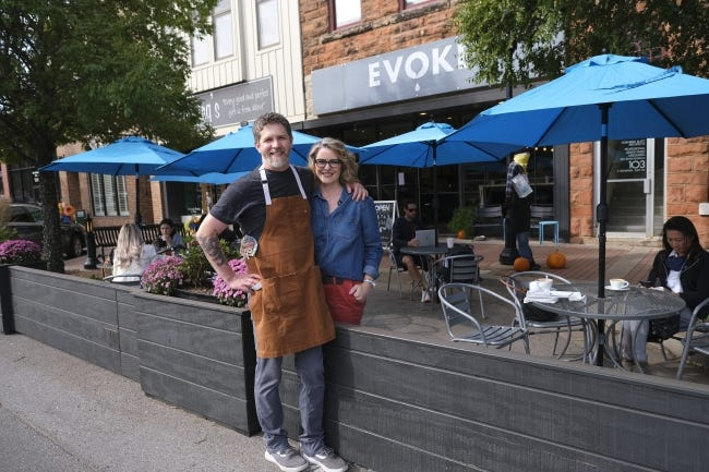 Robert and Lori Black, owners of Cafe Evoke. Streateries in downtown Edmond. Restaurants/cafes were allowed to take over street space to expand their dining options during the pandemic. Thursday, October 15, 2020. [Doug Hoke/The Oklahoman]