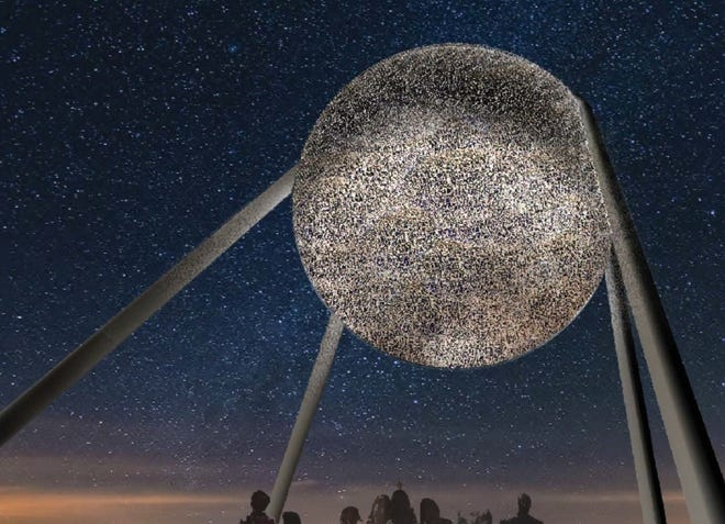 Taking Flight, the sculpture planned for Scissortail Park, is going through a redesign in response to plans by the Thunder to include a giant basketball sculpture across the street as part of a planned Thunder Alley entertainment center. [STUDIO KCA]