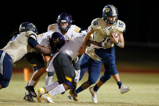 Heritage Hall's Will Paque carries the ball during a high school football game between Heritage Hall and Anadarko at Heritage Hall in Oklahoma City Saturday, Oct. 24, 2020. [Bryan Terry/The Oklahoman]