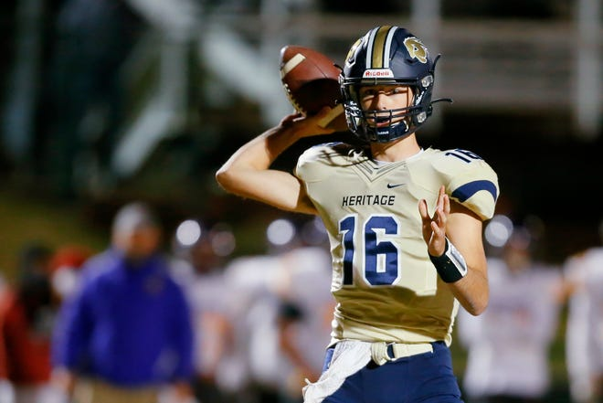 Heritage Hall's Will Paque throws a pass during a high school football game between Heritage Hall and Anadarko at Heritage Hall in Oklahoma City Saturday, Oct. 24, 2020. [Bryan Terry/The Oklahoman]