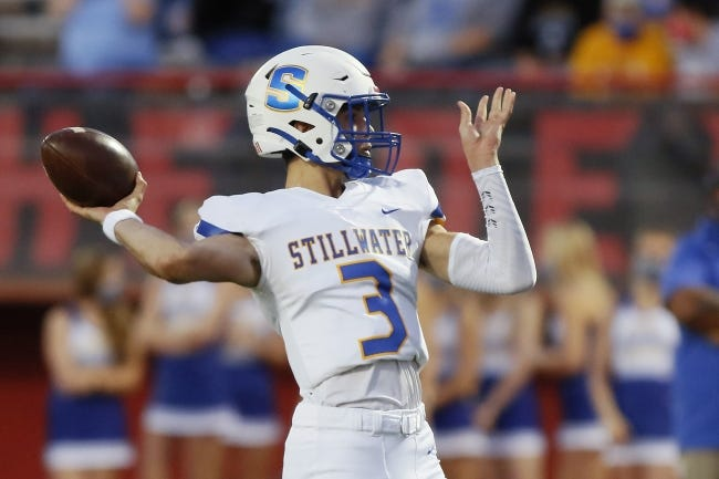 Quarterback Caleb Allen and Stillwater will face Midwest City on Friday in a crucial Class 6A-II showdown. [Bryan Terry/The Oklahoman]