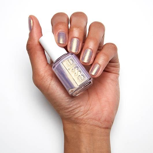 Essie Sugarplum Fairytale, a vibrant lavender with glistening gold pearl.