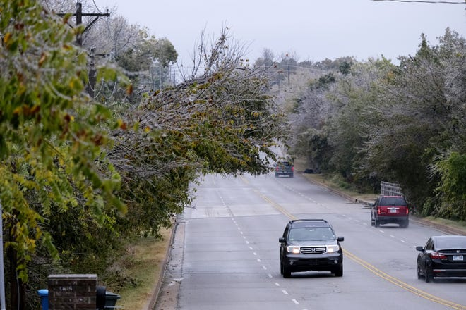 Ice builds up on trees Monday along Coltrane Road in Edmond. Nearly 90,000 OG&E customers were without power in the metro area Monday afternoon after a round of freezing rain and sleet. With more inclement weather expected Tuesday, many school districts began canceling classes or moving to virtual learning plans. [Doug Hoke/The Oklahoman]
